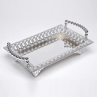 Wholesale Party Serving Plates - Gold Silver Plated Cake Trays Zinc Alloy Serving Tray Metal Plate For Home Wedding Party Event Supplies 30X18X9cm