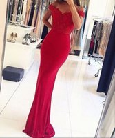 Wholesale Elegant Red Evening Dresses - Elegant Red Off the Shoulder Lace Evening Dresses Sleeveless Mermaid Sweep Train Formal Prom Gowns New Arrival