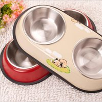 Wholesale Stainless Steel Dog Bowl Wholesale - Stainless Steel Pets Food Bowl Pet Supplies Large Size Durable Easy Washing Anti Slip Dog Bowls 2 Color YYA333