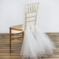 обручальное кольцо для шеи оптовых-Романтические кружева свадебные чехлы на стулья с тюлем оборками для жениха и невесты