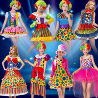 Wholesale Magician Costume Women - Colorful Women Men Clown Cosplay Costume Funny Magician Stage Performance Costumes Halloween Masquerade Party Supplies