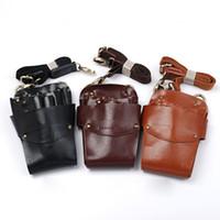 Wholesale Scissors Holster Belt - Leather Barber Scissor Bag Salon Hairdressing Holster Pouch Case with Waist Shoulder Belt