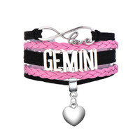 Wholesale Gemini Charms Wholesale - Antique Silver Plated CAPRICORN & GEMINI & CANCER Matched a Heart Dangle Pendant Pink and Black Multilayer Braided Bracelets