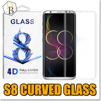 Wholesale Mirror Packaging - For Galaxy s8 plus 0.2MM 3D S7 Edge Tempered Glass Full Screen Protector Cover Screen 9H Hardness Curve Screen Protector With Package