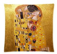 Wholesale Gustav Paintings - Wholesale- Painter Artist Gustav Klimt Painting Fashion Style High Quality Durable Single Pillow Case Standard Size 40x60cm(Twin Sides)