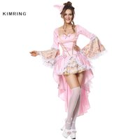 Wholesale Deluxe Sexy Costume For Halloween - Kimring Sexy Halloween Costume for Women Gothic Versailles Deluxe Vixen Cosplay Pink Cosplay Masquerade Party Costume Dress