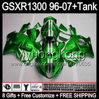 Wholesale Suzuki Gsxr Fairings Green - gloss green 8gift For SUZUKI Hayabusa GSXR1300 96 97 98 99 00 01 13MY202 GSXR 1300 GSX-R1300 GSX R1300 02 03 04 05 06 07 TOP green Fairing