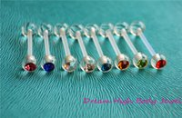 Wholesale Crystal Gem Body Jewellery ACRYLIC Piercing Ring Tongue Bar Bioflex G mm Mixed Colors Transparent Popular Piercing Flexible