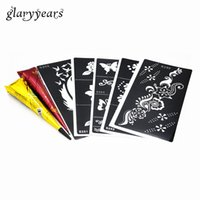Wholesale Wholesale Cone Pieces - Wholesale-5 Pieces Medium Henna Stencil + 2 Pieces Black and Brown Color Henna Paste Cone Body Paint Draw Tattoo Templates Christmas Gifts