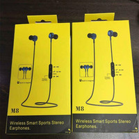 Wholesale brand fi - Original New M8 magnetic Wireless Bluetooth 4.1 Metal in-Ear Earphone HI-FI Stereo Surround Bass with Microphone Retail Package