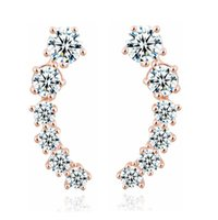 Wholesale Star Shaped Crystal Earrings - CZ Crystal White   Rose Gold Plated Stud Earrings Jewelry for Women Fashion Zircon Star Shape Ear Studs HZ