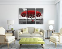 Wholesale Tree Canvas Art Piece - Abstract Canvas Art Red Tree Print on Canvas 3 Piece Painting Stretched and Framed Ready to hang for Living 16x32inchx3p