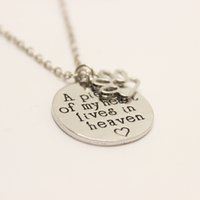 Wholesale Cat Memorial Jewelry - 12cs lot A Piece of My Heart Lives In Heaven Necklace Hand Stamped Necklace Dog Cat Pet Memorial Jewelry Pet Loss Remembrance