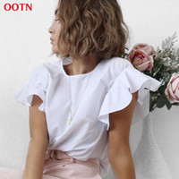 Wholesale Ruffle Sleeve Tops - New 2017 Summer Female Butterfly Sleeve Ruffled Shirts White Tee Women Tops Female T Shirt Summer Top Cotton Party T-shirt