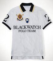 relógios de algodão venda por atacado-Nova marca Polo Shirt Men Preto Assista Clássico Tees Casual Fit Personalizado de Manga Curta de Algodão T-shirt Grandes Da Equipe do Polo do Cavalo S-XXL
