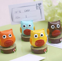 Wholesale Shape Place Holder - 100PCS Mini cute owl place card holder Multicolor resin animals shaped table number holder Wedding decoration mix color