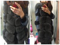 Wholesale Women Black Fur Vest - real fox fur vest full pelt fox fur vest women regular standard covered button coat natural fox fur XXX