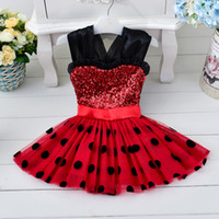 Wholesale Dress Baby Girl Polka - Baby Kids Clothing Flower Girls' Dresses vintage Princess Minnie Bow Polka dot Printed Ball Gown cute toddler pageant dress TuTu Party gowns