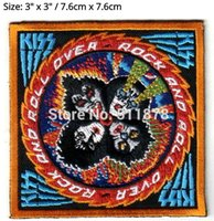 "Wholesale Film Rocks - 3"" Kiss Band Rock and Roll Over Group TV Movie Film Costume Embroidered sew on iron on patch TRANSFER APPLIQUE"