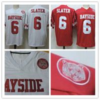 Wholesale red bells - cheap Mens Saved By The Bell Movie Mario Lopez #6 AC Slater Red White Stitched The film Football Jerseys Size S-3XL