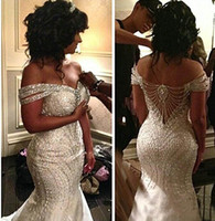 Wholesale short occasion dresses women - Shiny Bling Bling Mermaid Wedding Gowns 2017 Formal Specail Occasion Dress FOr Women Sexy Off Shoulder African Bridal Gowns