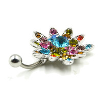 Wholesale Multi Pierced Navels - Showlove-1pc Multi crystal Flower&Rainbow CZ Crystal Reverse Navel Bell Button Rings Piercing 14G Body Jewelry