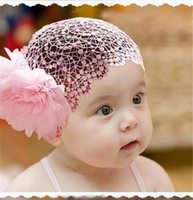 Wholesale Kids Hair Accessories Wholesale China - Lace Flower Headband Baby Girl Kids Elastic Hairband Hair Accessories