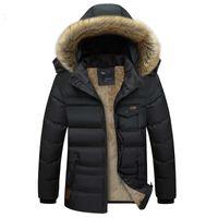 Wholesale Mens Fur Collar Top Coat - Brand Mens Jackets Winter Parkas Hoodies Autumn Coats Cotton Padded Warm Thick Outwear Tops Fur Collar Plus Size Clothing 4XL