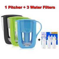 Wholesale Carbon Water Purification - Household Water Pitcher Kitchen Water Kettle Filter 1 Pitcher+ 3 Cartridge Water Filters Activated Carbon for Brita Filter 10 Cups