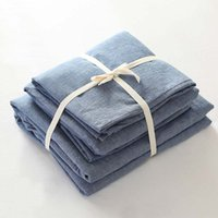 Wholesale King Size White Cotton Blanket - Solid blue 100% cotton modern brief home hotel male 4pcs blanket cover duvet cover fitted bed sheet pillowcase set Queen King size B3816