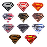 Wholesale Superman Patches - 50 PCS Embroidery Rubber American Flag + Superman Morale Embroidered Patches Hook&Loop Tactical Badges Emblem Applique Wholesale free ship