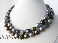 Wholesale Baroque Heart - Free Shipping ***35'' 12mm Black Gray Green Baroque Freshwater Pearl Necklace