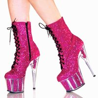 Wholesale Crystal Mesh Fabric Rhinestone - new winter club stage 15CM ultra crystal sequins shoes high-heeled Women's Boots