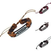 pulseras de cuero para hombres al por mayor-Al por mayor-¿Qué haría Jesús (WWJD) encanto de cuero genuino carta pulsera brazalete pulsera brazaletes moda para mujeres hombres regalos