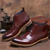 Wholesale Mens Business Ankle Boot - Luxury Wine Red Mens Short Boots Full Grain Leather Shoes Gentlemen Mens Dress Boots Business Man Ankle Boots Oxfords Shoes New