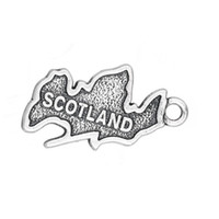Wholesale country maps - 2017 hot sell 15*23mm Antique Silver Plated Country Map Scotland Patriotic Charm Travel Jewelry 20pcs lot