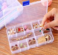 Wholesale Tiny Plastic Storage Boxes - Adjustable Compact 15 Grids Compartment Plastic Tool Container Storage Box Case Jewelry Earring Tiny Stuff Boxes Containers