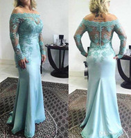 Wholesale Ice Blue Lace Dress - Honey Qiao 2017 Mother of Bride Dresses Ice Blue Off Shoulder Long Sleeve Mother Dress Sweep Train Lace Applique Sheer Back Party Gowns