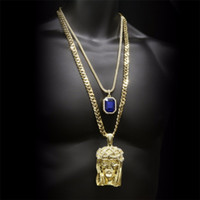 ingrosso collana quadrata della gemma-Hip hop Golden Crowned Jesus Head Pendente Iced Out Collana con gemma quadrata in cristallo Catena cubana