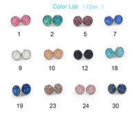 Wholesale Nice Crystal - Nice handmade resin round druzy earrings trendy simple stainless plated wholesaling resin stone earring for lady gift