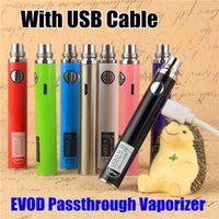 Wholesale Ego Charging Cable - Newest Evod ego battery micro usb Passthrough vaporizer UGO-V 2 ecigarette 650mah 900mah Bottom &Top Charge vape batteries with USB Cable