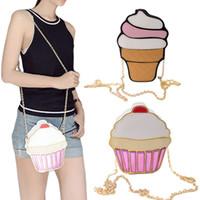 Wholesale Ice Cream Purse - Wholesale- Funny Ice Cream Cake Bag Small Crossbody Bags For Women Cute Purse Handbags Chain Messenger Bag Party Bag