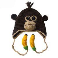 5c0aa268bfa Handmade Knit Crochet Monkey Hat with Bananas