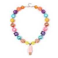 Wholesale Wholesale Plastic Heart Beads - Free Shipping Fashion Beaded Kids Jewelry Popsicles Chunky Bubblegum Beads Necklaces Design For Gift