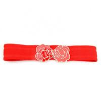 cinto de cintura de flor vermelha venda por atacado-2016 Moda Encantador Rose Flor Cintura Elástica Cintura Larga Cinto para a Mulher Vermelho, Bege DM # 6