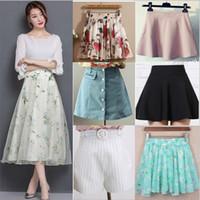 Wholesale Skater Dress Patterns - Wholesale Hundreds of designs Summer Women Midi Skirt Floral Print A-line High Waist Pattern Skater Skirts casual dress