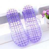 Wholesale Ladies Canvas Shoes Wholesale - Wholesale-Crystal Transparent Casual Women Shoes Summer Massage Indoor Flat Slip On Casual Home Shoes Hollow Out Antiskid Ladies Slippers