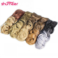 Wholesale Long Hairpieces For Women - Wholesale- Shumeier 12Colors 60cm Long Wavy Colored Ombre Synthetic Hairpiece Clip In Hair Extensions for Women