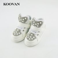 Wholesale Kids Fashion Boots - Koovan Kids Shoes 2017 New Fashion Kid Children Baby Girls And Boys Sport Shoes Baby Sequins Shoes Children's Sneakers Boots white 21-25
