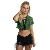 Wholesale Summer Cotton Shirts For Women - New Fashion Bandage Crop Top for Women's Sexy Short T Shirt Tops Short Sleeve Hollow Out Rivet Cotton Vintage Green Black Summer Tee Top